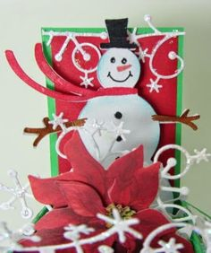 Paper Blessings design  by Mary Leeson.  Card-in-a-box made with left overs from Holiday season...Memory Box Frostyville border die, snowman from Joys of the Season cricut cartridge, CTMH glitter glue.