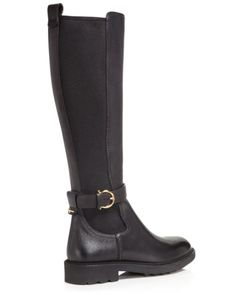 Salvatore Ferragamo Furseo Leather and Stretch Tall Boots