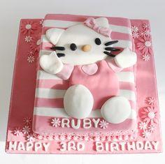 30 Cute Hello Kitty Cake Ideas and Designs - EchoMon Hello Kitty Birthday Cake, Hello Kitty Cake, Cupcake Cakes, Cupcakes, Beautiful Cakes, Cartoon Characters, Birthday Parties, Cake Ideas, Happy