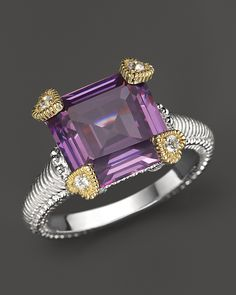Judith Ripka Small Candy Ring with Purple Crystal and White Sapphire
