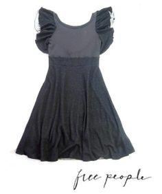 FREE PEOPLE Black Boho Flutter Sleeve Scoop Back Dress S 4 6