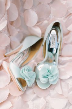 romantic blue ruffle pump wedding shoes