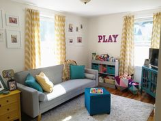 Small playroom, playroom design, modern playroom, playroom decor, nursery m Playroom Layout, Small Playroom, Colorful Playroom, Modern Playroom, Playroom Organization, Playroom Design, Playroom Decor, Playroom Ideas, Nursery Modern