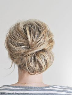 Here's a secret, shorter-haired homies: You can rock the updo, too. This low, beachy chignon from The Small Things Blog is perfect for hair that falls just above shoulder length. A little bit of texturizer and teasing are all you need to get this amazing, voluminous prom hairstyle.