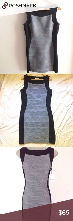 NWOT CALVIN KLEIN Sleeveless Sheath Bodycon Dress Very flattering body hugging black and grey block style dress. Calvin Klein Sleeveless Bodycon Cocktail Dress! In new condition. Zipper side. Slight stretch. Arm pit to arm pit - 19 inches, length 36.5.  Shell 1: 92% Polyester 8% Spandex. Shell 2: 77% Polyester 3% spandex, 20% rayon. Lining: 100% Polyester. Calvin Klein Dresses