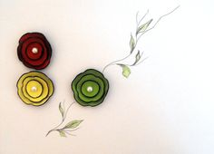 Multicolor cabochon flowers from leaher by HMCreativeSupplies, $6.90