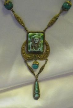 EARLY ART DECO MOLDED CZECH GLASS EGYPTIAN REVIVAL NECKLACE