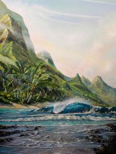 "Original x Acrylic on Plexiboard) Mark captures the rugged Na Pali coast's majestic wonder and movement in ""Hidden Na Pali. Vintage Mermaid, Mermaid Art, Mermaid Paintings, Tattoo Mermaid, Mermaid Tails, Fantasy Mermaids, Real Mermaids, Surf Drawing, Cosplay Steampunk"