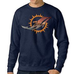 BestGifts Men's Miami Sport Football Logo Crew Neck Sweatshirt Navy Size XXL ** More info could be found at the image url.