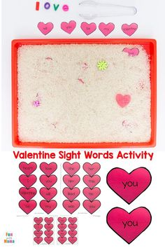Check out this Valentine Sight Word Activity! It's a great way for preschoolers, kindergartners, and early learns to work on their sight words and fine motor skills! #sightwords #earlylearner #preschoolactivities #ValentinesDay