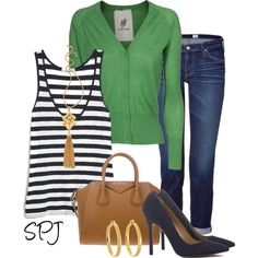 """""""Kelly Green & Navy Stripes"""" by s-p-j on Polyvore"""