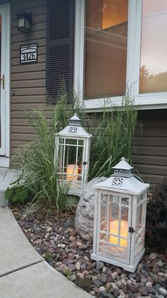 Outdoor lanterns.  Farm House Chic.  Yellow House Landscape Design.  Bre Cotter.