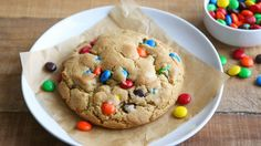 This recipe makes just one giant peanut butter cookie filled with M&Ms™, perfect for whenever the cookie cravings strike. It's soft and chewy, and big enough to share. Dessert For Two, Dessert For Dinner, Muffin Tin Recipes, Cookie Recipes, Baked Spaghetti Squash, Cooking For Two, Cooking Tips, Cooking Salmon, Baked Salmon