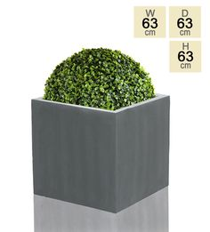 Grey Polystone Cube Planter - Jumbo 63cm - 235 Litre