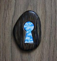 Keyhole/Door keyhole/Door Lock/Blue sky/Welcome to paradise/Doors of paradise/Rock Art/Painted stones/Painted stone/Stone art/Painted pebble