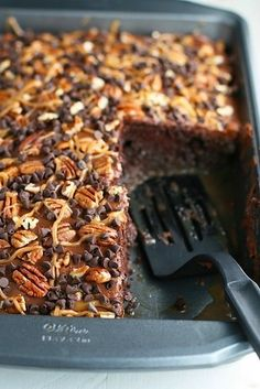 Chocolate Turtle Poke Cake | 15 Poke Cake Recipes You Need In Your Life