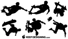 Skateboard Vector Silhouettes-free-vector-image.  Would look nice on a boys wall.