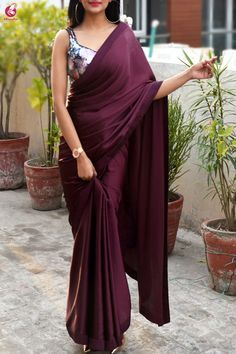 Buy Wine Satin Saree Online in India Saree Draping Styles, Saree Styles, Saree Blouse Patterns, Saree Blouse Designs, Sari Dress, The Dress, Saris, Indian Dresses, Indian Outfits