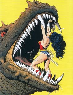 Wonder Woman: example of a female superhero exercising her agency against an enemy that retains a sexual focus, showing her long thick hair and sporting her revealing signature outfit.