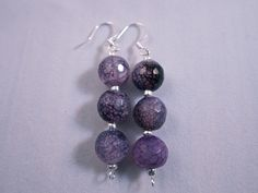 Purple glass and silver seeds. Purple Glass, Breast Cancer, Earrings Handmade, Seeds, Strength, Spirit, Pairs, Style Inspiration, Drop Earrings