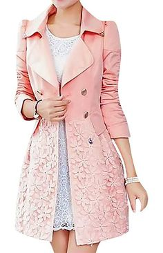 US&R Women's Belted Turn Down Collar Double Breasted Trench Coat Floral Lace, Pink Medium