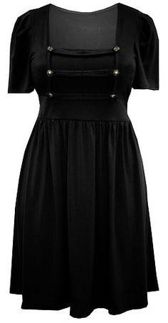 LADIES PLUS SIZE BLACK MILITARY STYLE TUNIC DRESS