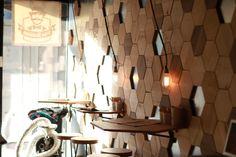 Shipping container coffee place Pan Kralicek in Bratislava, SAfKO. #wood, #hexagon #design #tiles #coffee