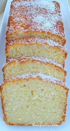 Moist Coconut Pound / Loaf Cake - Light, soft, and oh sooooo delicious!   Lovefoodies.com