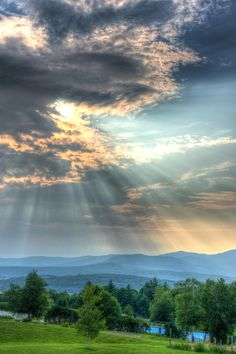 Sun Shining Down over Stowe, VT as seen from the Von Trapp Lodge. Pure Romance!