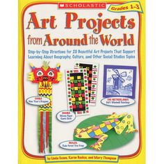 """Bring art into the classroom with 20 engaging projects that connect to social studies projects. Each project reflects the culture or geography of a different country. Includes step-by-step instructions and 8 full-color pages showing sample projects. Paperbacks by Linda Evans, Karen Backus and Mary Thompson. 64 pages in each book, 8-1/2 x 10-7/8""""."""
