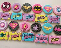 New backyard party decorations night summer ideas - backyard party Batman Cookies, Superhero Cookies, Girl Superhero Party, Wonder Woman Birthday, Wonder Woman Party, Backyard Party Decorations, Fun Backyard, Backyard Movie, Royal Icing Cookies