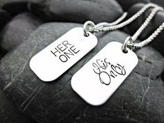 Her One - His Only - Couple's MINI Dog Tag Necklaces - Matching Couple Necklaces - Masculine - Femin Matching Necklaces For Couples, Couple Necklaces, Couple Jewelry, Fine Jewelry, Chain Necklaces, His And Hers Necklaces, Jewelry Tags, Jewlery, Silver Jewelry
