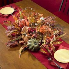 Fall Table Decorations Harvest Season Table Triple Candelabrum Silk Plant New…