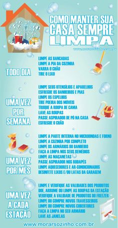Infográfico: Como manter a casa sempre limpa? Clean Life, Clean House, House Cleaning Tips, Cleaning Hacks, Diy Crafts For Kids, Home Crafts, Flylady, Personal Organizer, Home Alone
