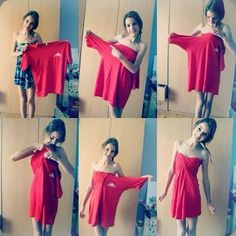 DIY: Boyfriend's Tshirt into cute dress. Would you try to make it? boyfriend tshirt, clever idea, t shirts, shirt dress