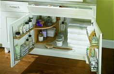 Bathroom under sink door storage
