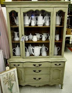 french painted china cabinet