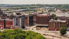 The West Bottoms sits directly west of Kansas City's Downtown Loop, as seen here from Mulkey Square Park.