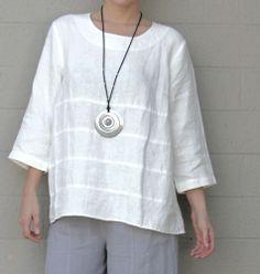 Mosaic 585 Linen Lagenlook Tier Tunic A Line Panel Hem Top s M L XL Ivory | eBay