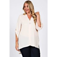 🎉CCO🎉 Plus Size Beige V neck Blouse V-neck georgette blouse with button trim front and high low hems. Front opens up! 100% polyester. Tops Blouses