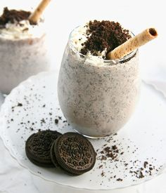 Oreo Milkshake Recipes : Oreo milkshakes with 1/2 cup milk, 5 Oreos, and 3 scoops of ice cream