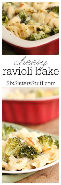 Cheesy Ravioli Bake Recipe from Six Sisters Stuff