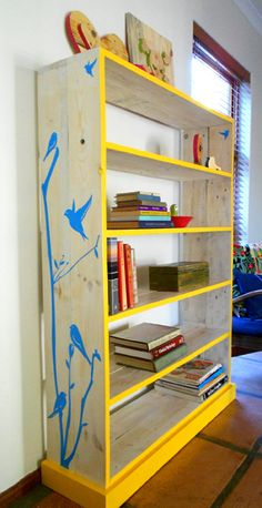 Alida's bookshelf made from pallet wood by jasper and george Wood Pallet Furniture, Pallet Wood, Upcycled Furniture, Wood Pallets, Diy Furniture, Home Crafts, Diy Crafts, Free Pallets, New Room