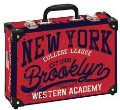 Školní kufřík velký - 35x25x11cm č. 21749 HK Velký  NEW YORK BROOKLYN New College, Brooklyn, New York, New York City, Nyc