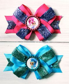SHIMMER and SHINE Hair Bows SET Shimmer and by ModernMeCollection