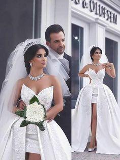 Ball Gown Beading Satin Sleeveless Chapel Train Sweetheart Wedding Dresses - Wedding Dresses - Hebeos Online
