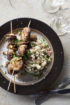 Vegan grilled mushrooms with pine nut and apply burghul salad from veggie num num