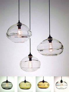 Clear Blown-Glass Pendant Lights | clear band pendant lights hand blown glass pendants with thick clear ...