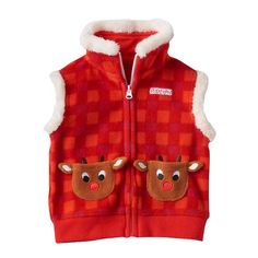 Baby Rudolph the Red Nosed Reindeer Rudolph Pocket Sherpa-Lined Fleece Vest, Infant Unisex, Size: