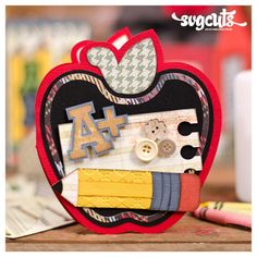 School Days SVG Kit - Cute apple-shaped card #diy #papercrafts from SVGCuts